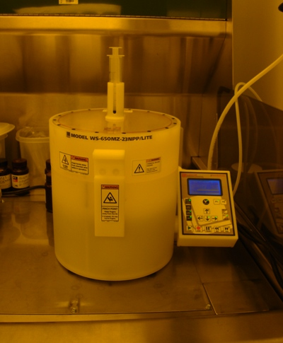 The class 100 clean room is outfitted with a Laurell WS-650MZ-23NPP/LITE photoresist spinner.