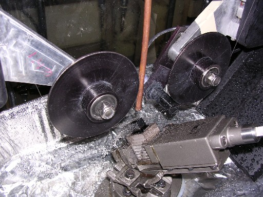 CdZnTe sample slicing with the the Laser-Tech diamond wire saw. The sample mount allows for various cutting angles.