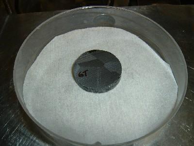 A CdZnTe slice from an ingot grown in the K-State modified multi-zone Bridgman furnace.