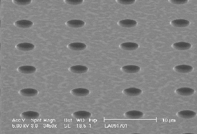 Holes are etched into the surface with the SMART Laboratory ICP-RIE. The holes serve to reduce the surface tension of the neutron reactive coatings.