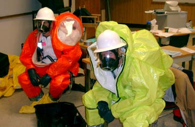 Entry Team 2 is suited up and waiting to go into the Hot Zone when needed.