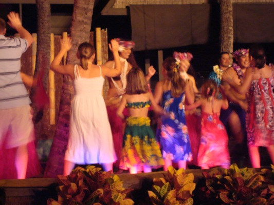 Shaking it up at the luau.
