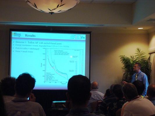 Mark Harrison presenting his work on CdZnTe Frisch ring detectors.
