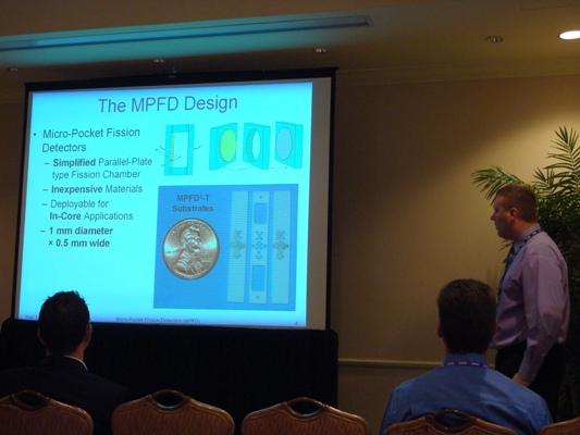 Martin Ohmes presenting his research work on Micro-Pocket Fission Detectors.