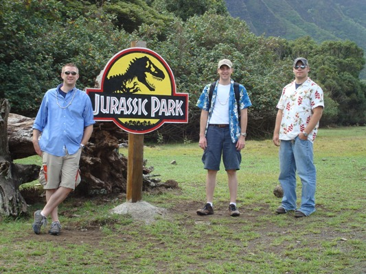 The usual suspects, Mark Harrison, Walter McNeil and Steven Bellinger,  hanging out in Jurassic Park.