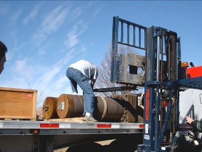 So, ... how do you lift a 3000 pound cylindrical furnace off of a truck?