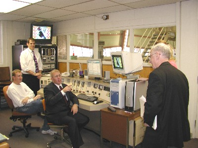 Larry Foulkes in the K-State TRIGA nuclear reactor operating room.