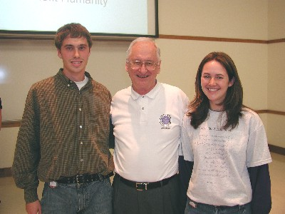 ANS scholarship recipients, C.J. Soloman and Becky Simon, pose with Larry Foulkes.