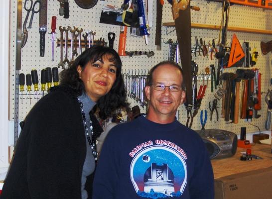 Faranak Kargar and Prof. McGregor in the work shop.