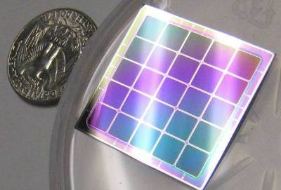 The Si neutron detector array chip. The detector array uses 5 mm x 5mm pixels and is approximately 1 inch square total area. The device utilizes LiF as a neutron converter layer.
