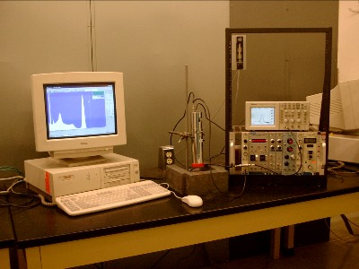 Student work station showing a typical arrangement used for scintillation spectroscopy lessons.