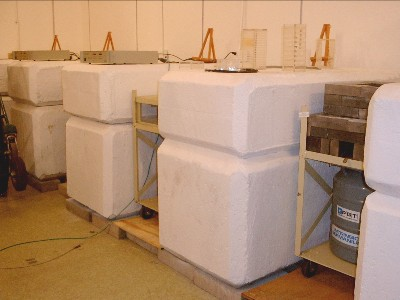 Shielding bunkers separating the numerous high resolution Ge gamma ray spectrometers in the Tate NAA Laboratory.