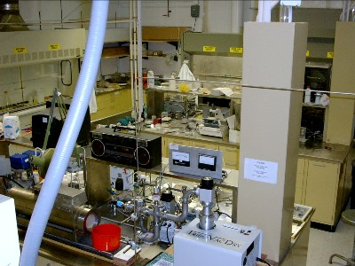 A view of room 15 Ward Hall looking from the clean room towards the lapping and polishing stations.