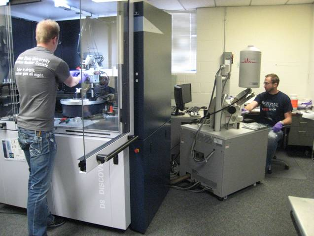 The scanning electron microscope (SEM) and x-ray diffractometer in the SMAL Lab. The scanning electron microscope is used to investigate materials and surfaces at the microscopic level. It has secondary and backscatter electron imaging capability. It also has X-ray flourescence capability that allows for the identification of the elemental constituents of a substance.