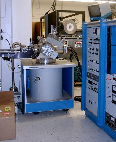 The Auger electron analysis system is used to excite characteristic Auger electrons from a material surface. These Auger electrons carry unique information that allows the operator to identify surface elements. The system comes with a sputter gun that allows the user to etch the surface during analysis, thereby allowing for depth profiling of a contact or surface layer.